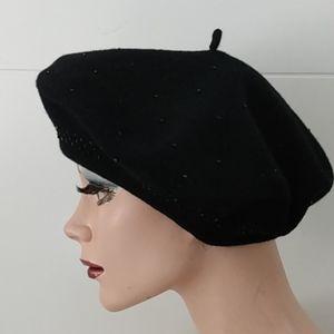 Nine West Beaded Beret French Hat Black